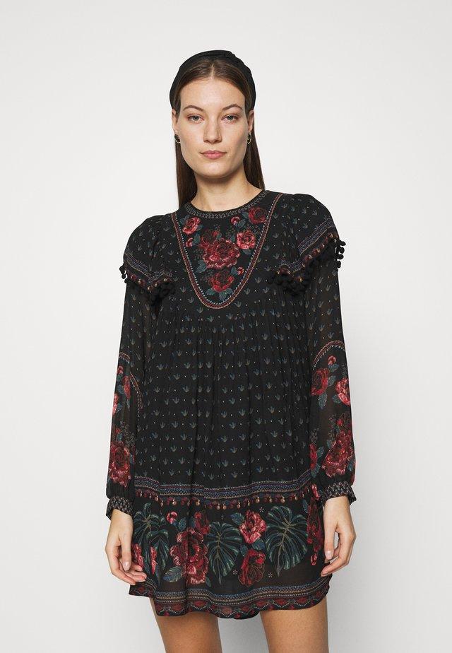 EMBROIDERED FLORAL MINI DRESS - Vapaa-ajan mekko - multi