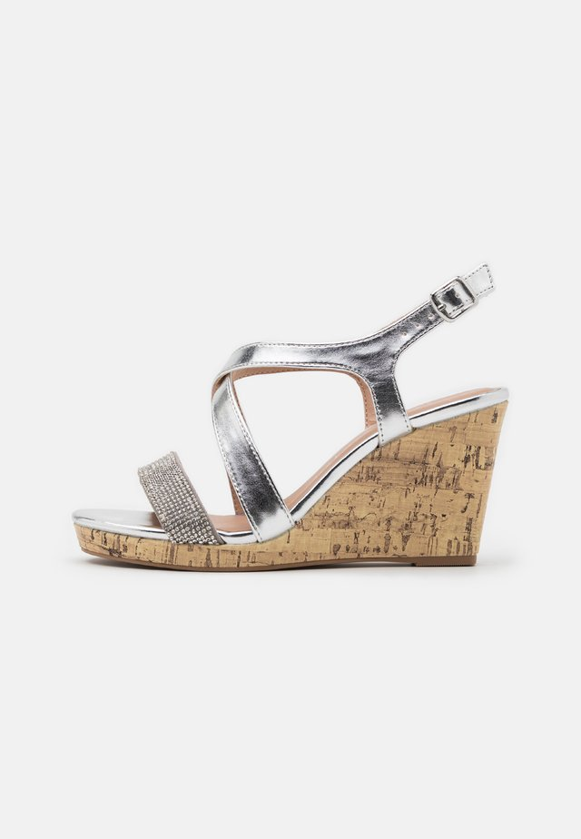 WIDE FIT SUNSHINE BLING MULTISTRAP WEDGE - High heeled sandals - silver