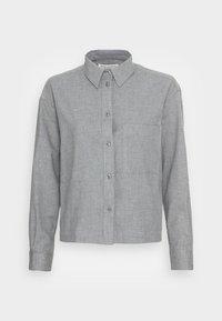 Marc O'Polo - BLOUSE LONG SLEEVE KENT COLLAR CROPPED - Button-down blouse - soft grey melange - 3