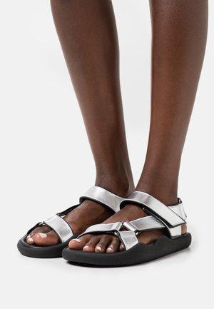 FLAT STRAP - Sandals - silver