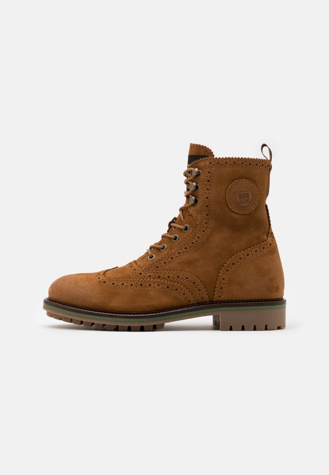 NATRON - Lace-up ankle boots - cognac