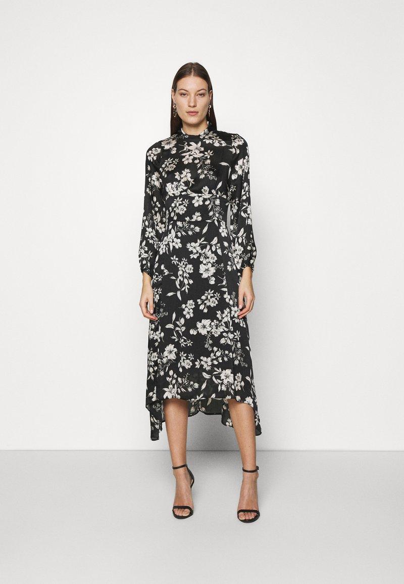 Dorothy Perkins - LARGEFLORAL HEMMIDI DRESS - Kjole - black