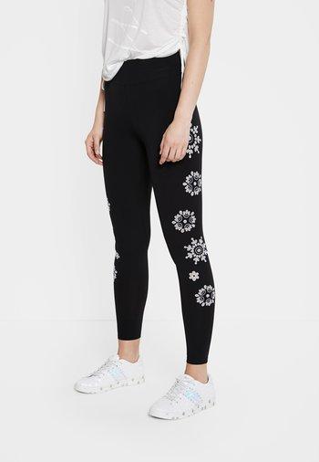MANDALA SWISS EMBRO - Leggings - Trousers - black