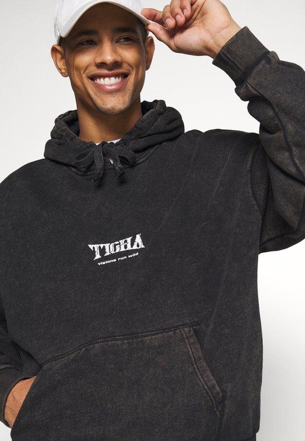 Tigha WILD EAGLE HOODIE - Bluza z kapturem - vintage black/czarny Odzież Męska IRGO