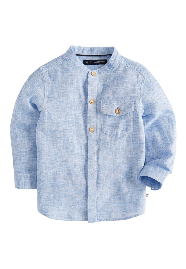 BLUE LONG SLEEVE LINEN MIX GRANDAD SHIRT (3MTHS-7YRS) - Overhemd - blue