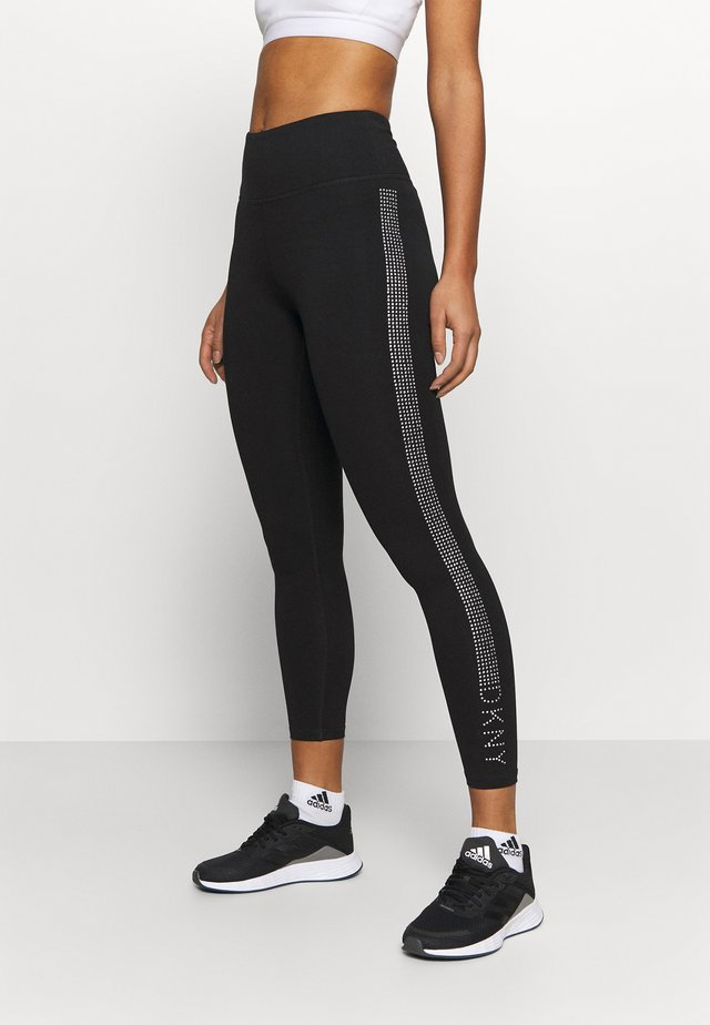 HIGH WAISTED 7/8 LOGO - Leggings - silver