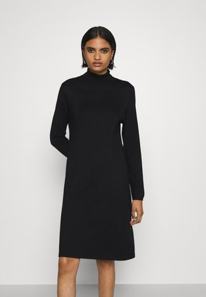 VMGLORY LS ROLLNECK DRESS COLOR - Gebreide jurk - black