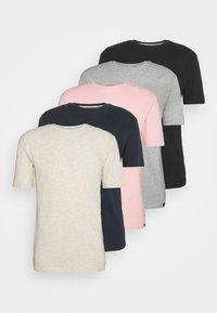 5 PACK - T-shirt - bas - navy/light pink/off white/grey marl/black