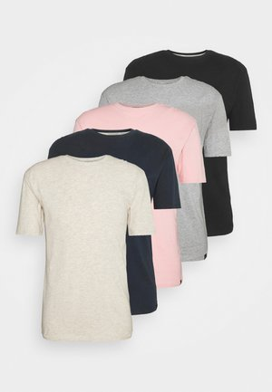 5 PACK - T-shirt basic - navy/light pink/off white/grey marl/black