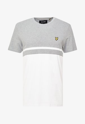 PANEL STRIPE - T-shirt med print - grey marl/ white