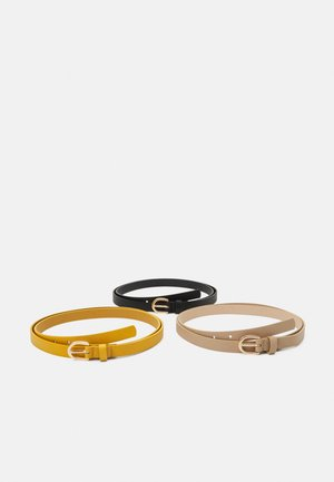 3 PACK - Belt - black/yellow/taupe
