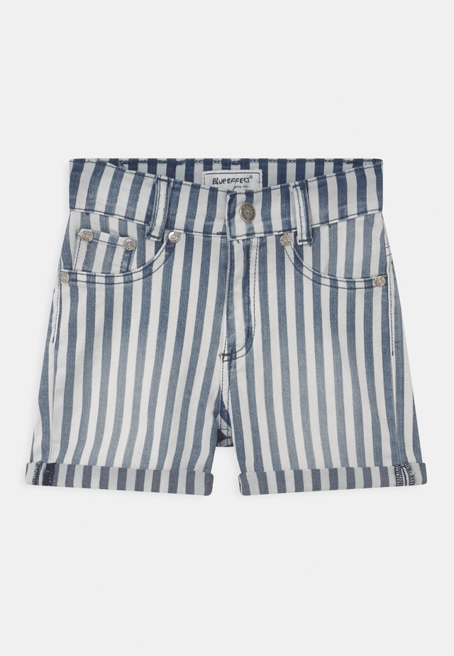 GIRLS HIGH-WAIST - Denim shorts - blau/weiss