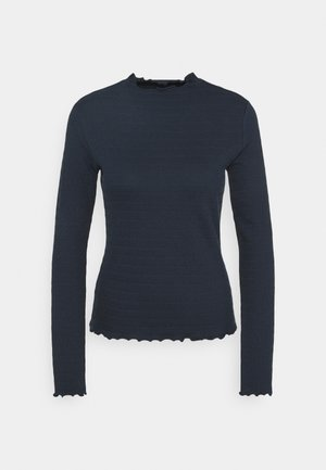 LONGSLEEVE ROUNDNECK WITH HEM RUFFLES - Long sleeved top - scandinavian blue