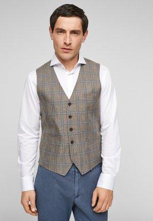 SLIM FIT - Suit waistcoat - beige check