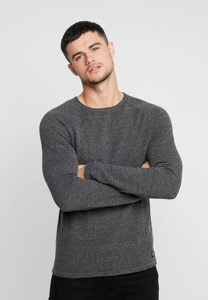 JJEHILL - Stickad tröja - dark grey melange