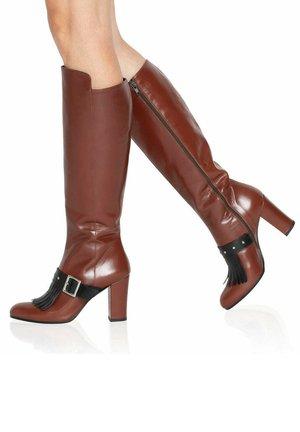 GIULIA  - Stivali con i tacchi - brown/black