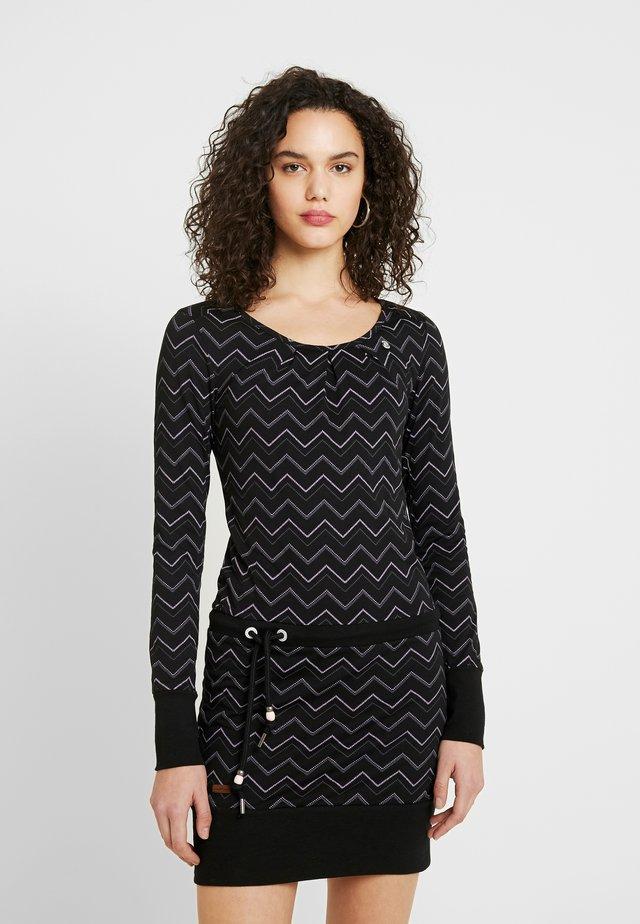 ALEXA ZIG ZAG - Jersey dress - black