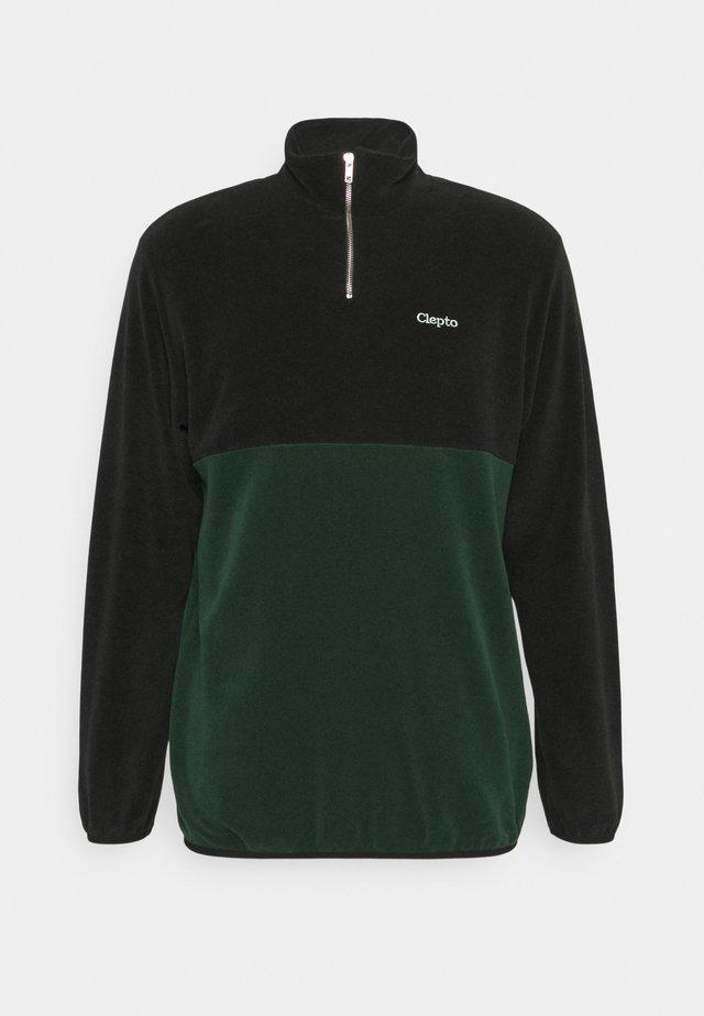 SOFTER DOUBLE - Fleece jumper - black/scarab green