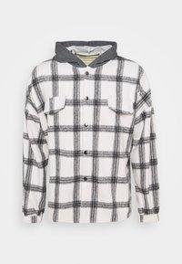 TARTAN WITH HOOD - Shirt - white/grey