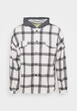 TARTAN WITH HOOD - Skjorta - white/grey