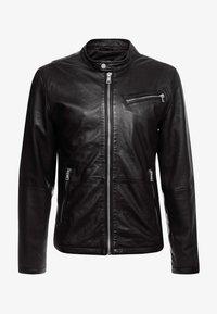 DAVIS - Leather jacket - black