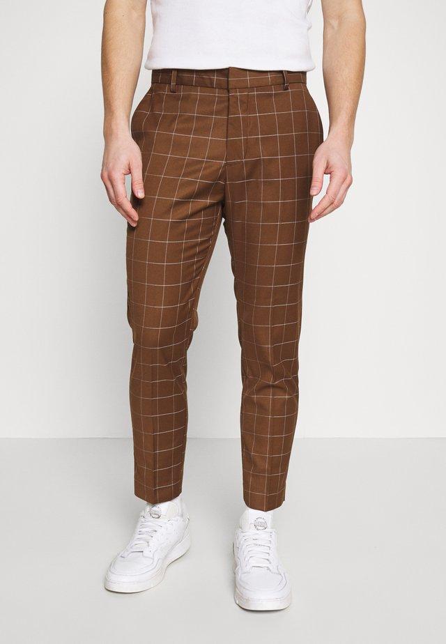 GRID CROP  - Trousers - tan