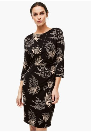 Jersey dress - black leaves print