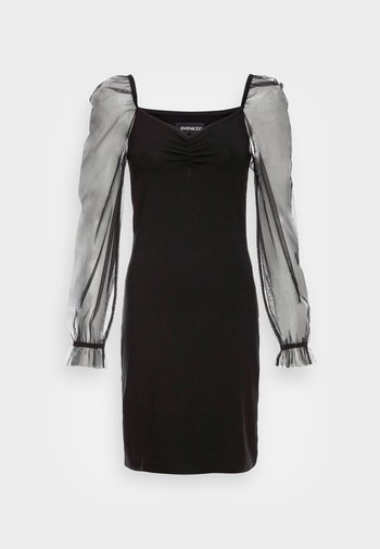 LONG PUFF SLEEVES RUSHING BODYCON DRESS - Cocktail dress / Party dress - black