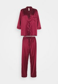 Playful Promises - LONG WITH CONTRAST PIPING - Pyjama set - wine - 5