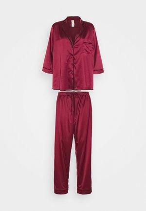 LONG WITH CONTRAST PIPING - Pyjama set - wine
