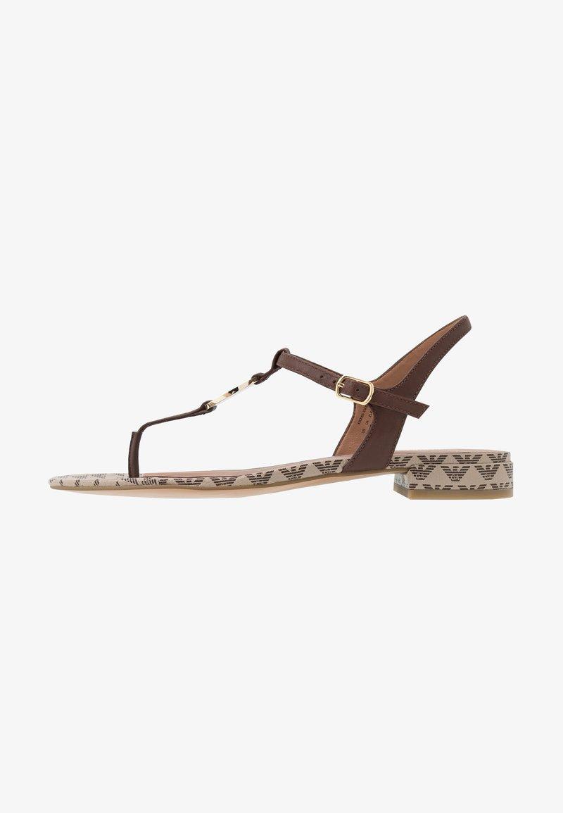 Emporio Armani - T-bar sandals - testa di moro/ecru