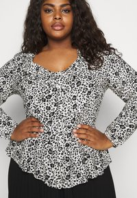 CAPSULE by Simply Be - FRILL BLOUSE - Button-down blouse - black/white - 6