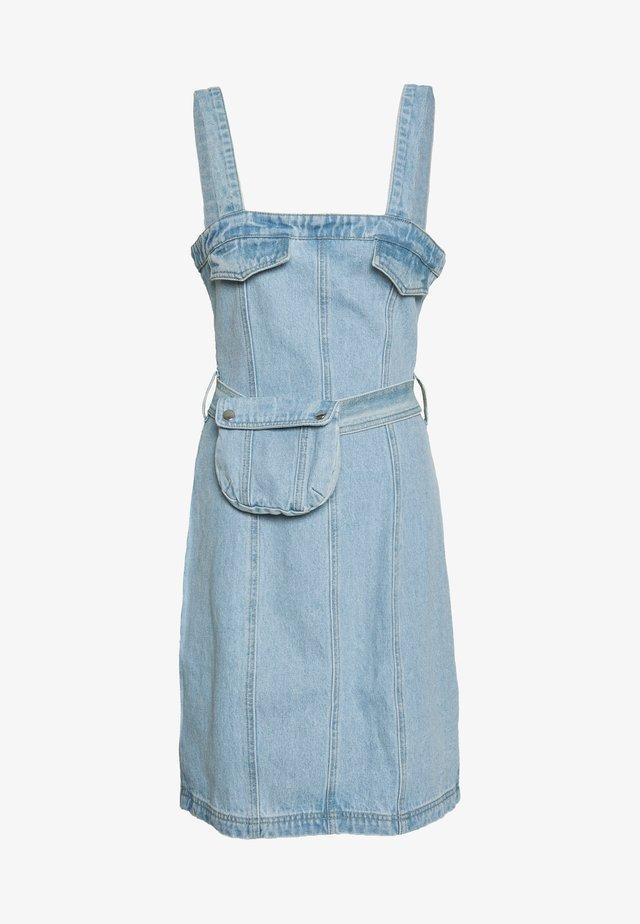 ZIP UP DRESS WITH BUMBAG - Sukienka letnia - denim blue