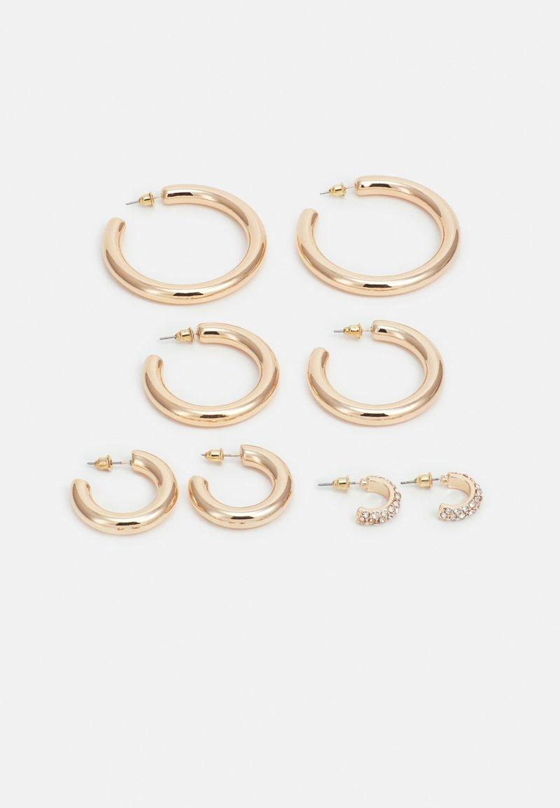 Lindex - EARRINGS CHUNKY HOOP RHINES STUD 8 PACK - Earrings - gold-coloured