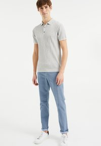 WE Fashion - MET STREEPSTRUCTUUR - Polo shirt - light grey - 1
