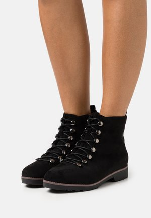 WIDE FIT RIB ELASTIC HIKER - Lace-up ankle boots - black
