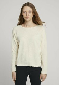 TOM TAILOR DENIM - Long sleeved top - soft creme beige - 0