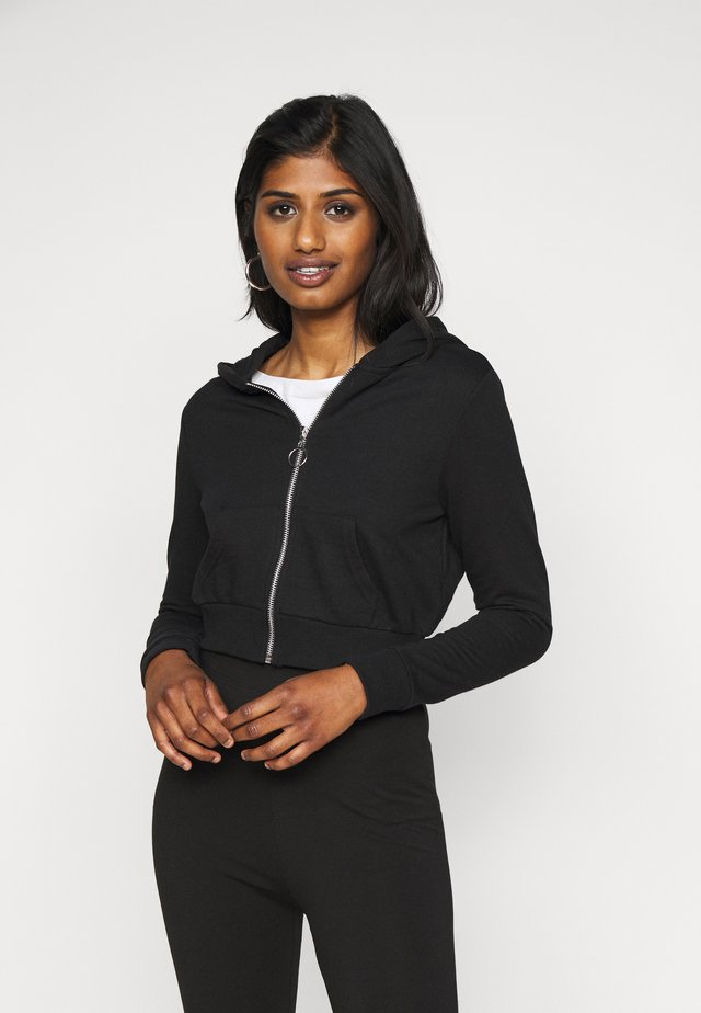 CROPPED SWEAT JACKET  - Mikina na zip - black