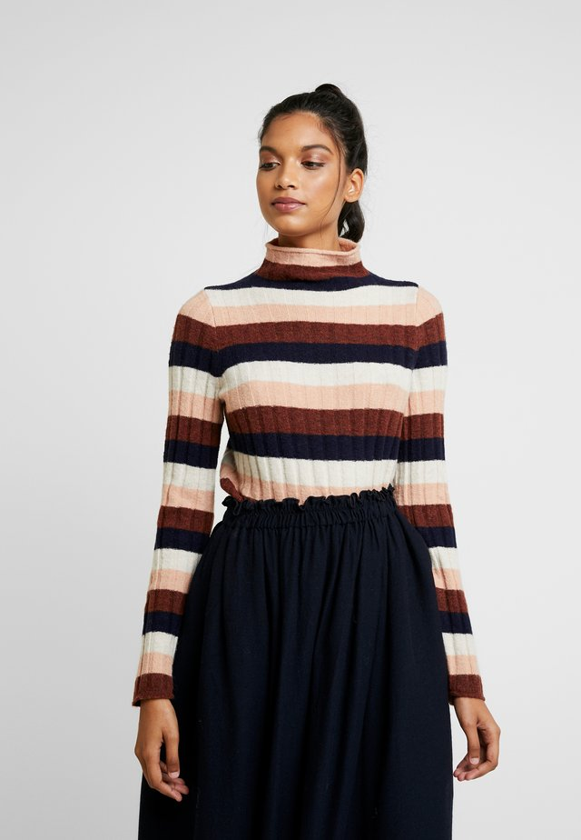 STRIPE IAN INLAND TURTLENECK - Jumper - heather quinoa cream/pink/brown/navy