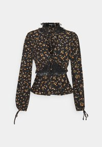 TIE DETAIL NECK AND CUFF PRINTED  - Blouse - black