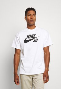 Nike SB - LOGO UNISEX - Printtipaita - white/black - 0