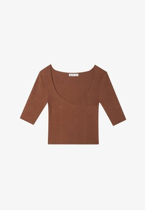 MIT HERZAUSSCHNITT - Jednoduché triko - brown