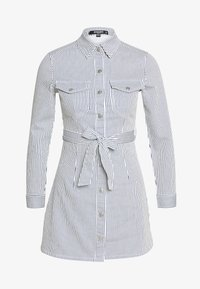 Missguided Petite - STRIPE BUTTON UP SELF BELT DRESS - Sukienka letnia - blue - 0