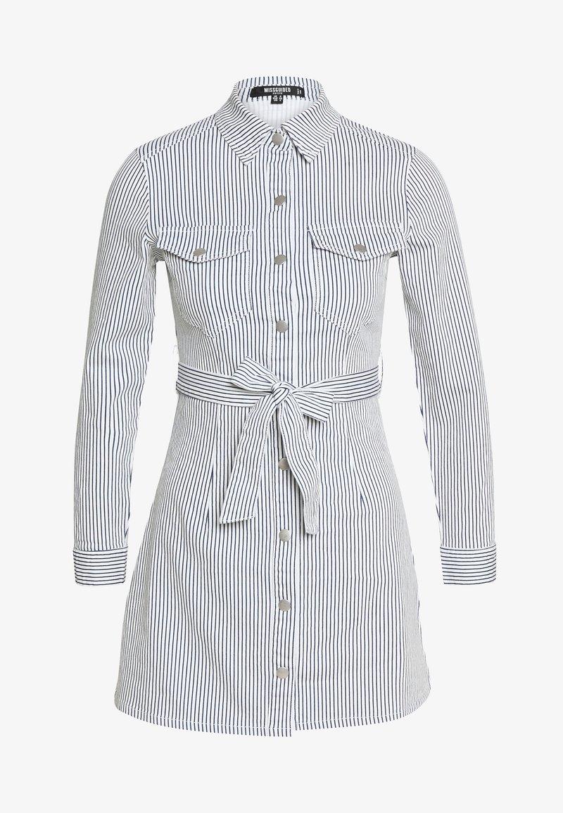 Missguided Petite - STRIPE BUTTON UP SELF BELT DRESS - Sukienka letnia - blue