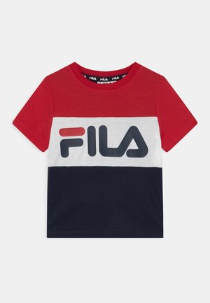 THEA BLOCKED UNISEX - T-shirt imprimé - black iris/true red/bright white