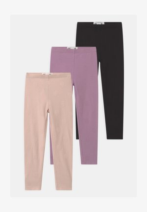 HUGGIE 3 PACK - Leggings - Trousers - black/chalky mauve/crystal pink