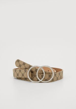 PRINTED DETAIL DOUBLE RING BELT - Belt - cream