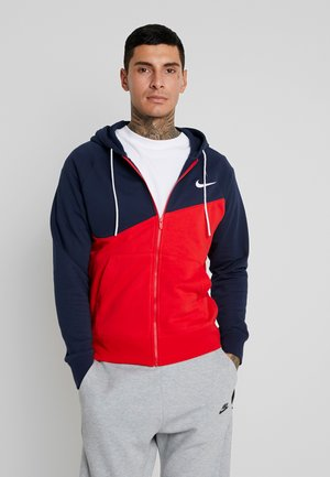 HOODIE - veste en sweat zippée - university red/obsidian/white