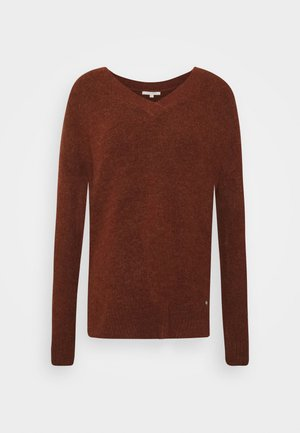 COSY VNECK - Jumper - rust orange melange