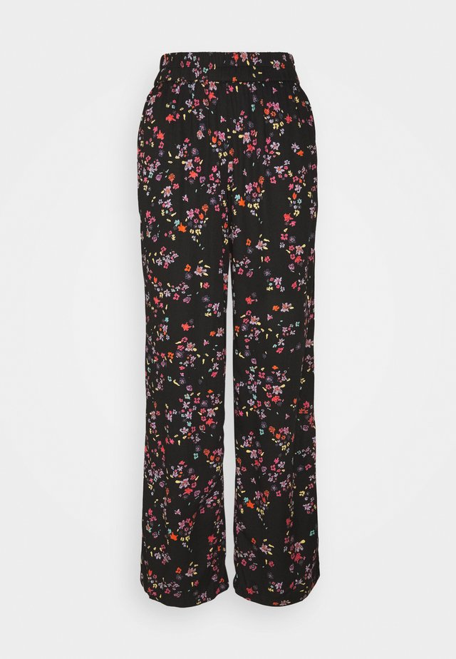 PCLALA WIDE PANTS - Spodnie materiałowe - black